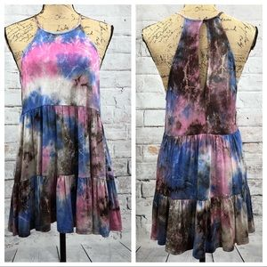 "Entro ""Cotton Candy"" Tie Dye Sexy Back BOHO Dress"